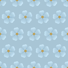 Vintage Floral Background. Seamless Vector Template For Design And Fashion Prints. Flower Pattern With Blue Flowers On A Light Blue Background.