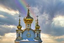 St. Petersburg, Russia - June 28, 2017: A Church With Golden Domes In Peterhof In St. Petersburg. Petersburg.