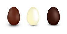Three Different Flavors Of Chocolate Easter Eggs Isolated On White.
