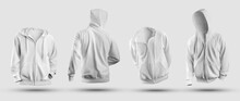 3d Rendering White Hoodie Mockup, With Zipper Closure, Pocket, Front, Back View, Sweatshirt Isolated On Background.