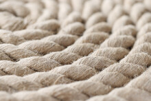 Closeup Of Nautical Rope Folded Into Spiral