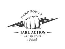 Vintage Logo Fist And Lightning Isolated On White Background