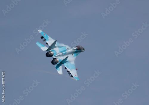 Fototapeta Moscow Russia Zhukovsky Airfield 31 August 2019: aerobatic team swifts MiG-35 perfoming demonstration flight of the international aerospace salon MAKS-2019 obraz