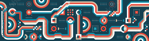 Background geometric design. Abstract pattern digital horizontal banner. Mosaic ornament layout. Network electronic industry. Future technology concept vector poster. Web site front image.