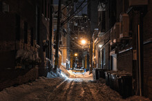 Snow Covered Alley In The Night