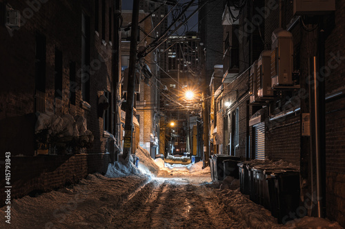 Fotografija snow covered alley in the night