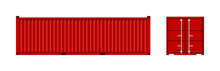 Cargo Container. Cargo Box From Ship. Freight Container For Shipping Of Merchandise. Red Metal Transport In Port Isolated On White Background. Trailer With Door For Storage, Export And Import. Vector