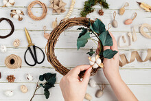 Handmade Diy Home Decoration Wreath With Easter Eggs And Natural Elements. Zero Waste Concept