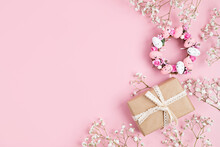 Handmade Diy Home Interior Decoration Wreath With Pink Easter Eggs And Gift