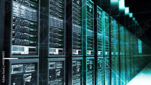 3d rendered illustration of Digital Data Server With Plexus Elements in Dark Room Analysing Digital Data. High quality 3d illustration