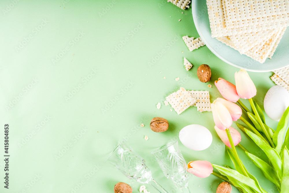 Fototapeta Pesah, jewish Passover holiday background