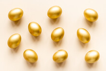Golden Eggs Flat Lay. Save Money. Wealth And Good Luck Symbol