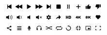 Video Media Player Icons Vector Set. Multimedia Music Audio Control. Mediaplayer Interface Symbols. Play, Pause, Mute Sign. Isolated On White Background