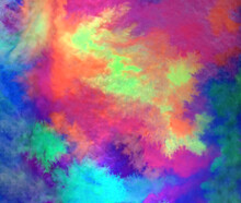 Rainbow Neon Circle Abstraction Watercolor White Background Wallpaper Square Image Free Space For Text