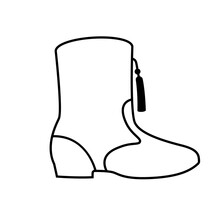Drill Team Boots Line Icon. Clipart Image Isolated On White Background