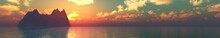 Ocean At Sunset, Sea Landscape Panorama, Sea Sunset, Ocean Sunset, Sun Over Water, Solar Path On Water, 3D Rendering