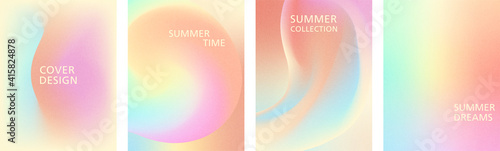 Tablou Canvas Universal vector set of cover templates with grainy gradient in warm summer colors