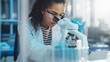 canvas print picture Medical Science Laboratory: Portrait of Beautiful Black Scientist Looking Under Microscope Does Analysis of Test Sample. Ambitious Young Biotechnology Specialist, working with Advanced Equipment
