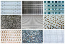 Collage Of Different Grey Textures, Full Size