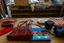 Inside Vintage Thrift Clothing Store With Fashionable Clothing & Accessories