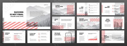 Obraz Creative presentation templates set. Use for creative presentation background, brochure design, website slider, landing page, annual report, company profile. - fototapety do salonu