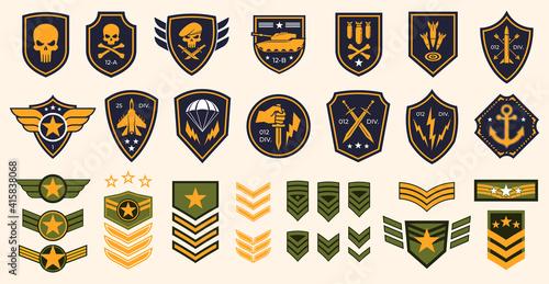 Stampa su Tela Military stripes, emblems