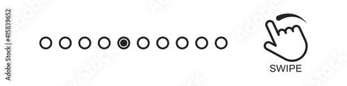 Fototapeta Swipe dots vector flick flat gesture icon, scroll technology simple symbol illustration