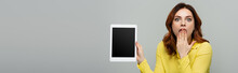 Amazed Woman Holding Digital Tablet With Blank Screen Isolated On Grey, Banner