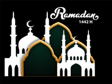 Ramadhan Islamic Theme Background Greeting With Green Dominant Colour
