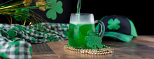 St. Patrick's Day Banner With Green Beer Being Poured Into A Frosty Mug