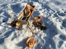 Wild Animal And Deer Feeder Made Of Wood In Winter