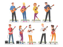 People Street Musicians Playing Musical Instruments Set, Live Performance Concept Cartoon Style Vector Illustration
