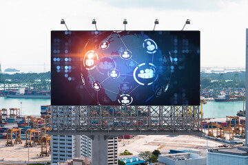 World planet Earth map hologram and social media icons on billboard over panorama city view of Singapore, Southeast Asia. The concept of people networking and connections.