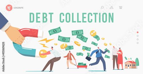 Fotografie, Obraz Debt Collection Landing Page Template