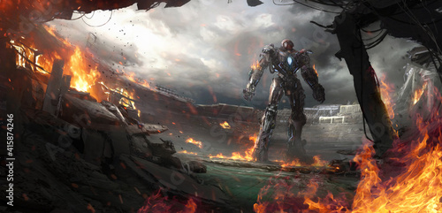 Fotomural Fictional illustration of a giant robot stands in a destroyed stadium