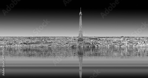 Fototapeta premium Dystopian photography of the city of Paris after the thawing of the poles and the rise in sea level, product of climate change due to the action of human beings