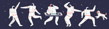 Astronauts Party: Group Of Cartoon Spacemen Dancing In Space Wearing Space Suits