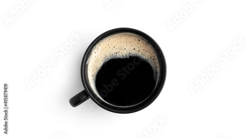 Tableau sur Toile Espresso in a black cup isolated on a white background.