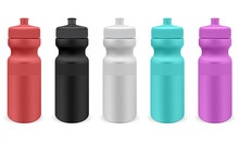 Sport Water Bottle. Isolated Plastic Fitness Bottle Template. Bike Flask Blank Mockup, Reusable Container Design, Adventure Equipment, Summer Travel