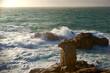 canvas print picture - Sonnenuntergang in der Bretagne an der Wilden Kueste auf Quiberon am Atlantik