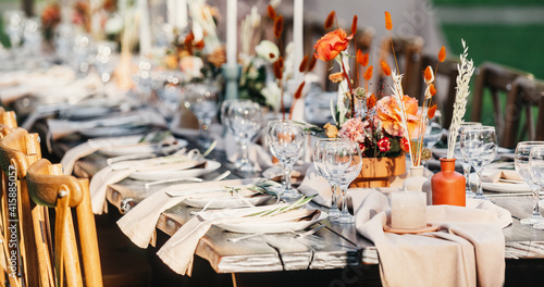 Fototapeta Wedding table decorated with decorative and elegant for wedding obraz