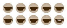Coffee Loyalty Card Template. Buy 9 Cups And Get 1 For Free. Take Away Coffee Cups Icons For Cafe