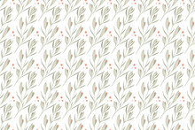Seamless Pattern, With Floral Elements, Branches With Leaves And Buds, Stylized Vector Graphics
