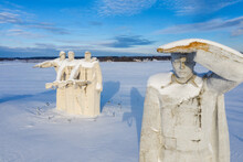 Volokolamsk, Russia. Winter. Monument To The Heroes Of Panfilov In Snow.