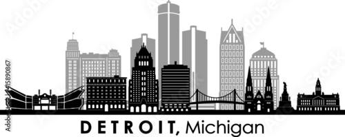 Fototapety, obrazy: DETROIT Michigan SKYLINE City Silhouette