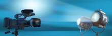 Video Camera Silhouette In The Dark Banner With Blue Light, Movie Or Television Background