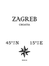 Zagreb, Croatia - Inscription With The Name Of The City, Country And The Geographical Coordinates Of The City. Compass Icon. Black And White Concept, For A Poster, Background, Card, Textiles