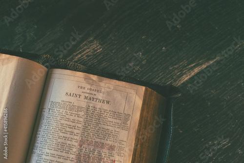 Fototapeta Image of an open bible at epistle after Matthew