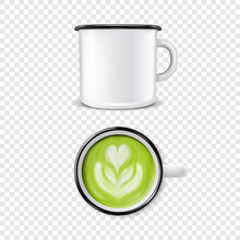 Vector 3d Realistic Enamel Metal Blank White Mug With Green Foam Milk Matcha Inside Isolated On Transparent Background. Front And Top View. Flower, Heart Pattern. Design Template For Mock Up