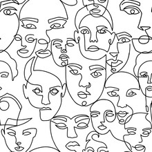 Line Art Seamless Pattern With Female Portraits On A White Background. One Line Style Endless Background. Suitable For Prints On Clothes And On Textiles. Hand Drawn Minimalistic Womans.